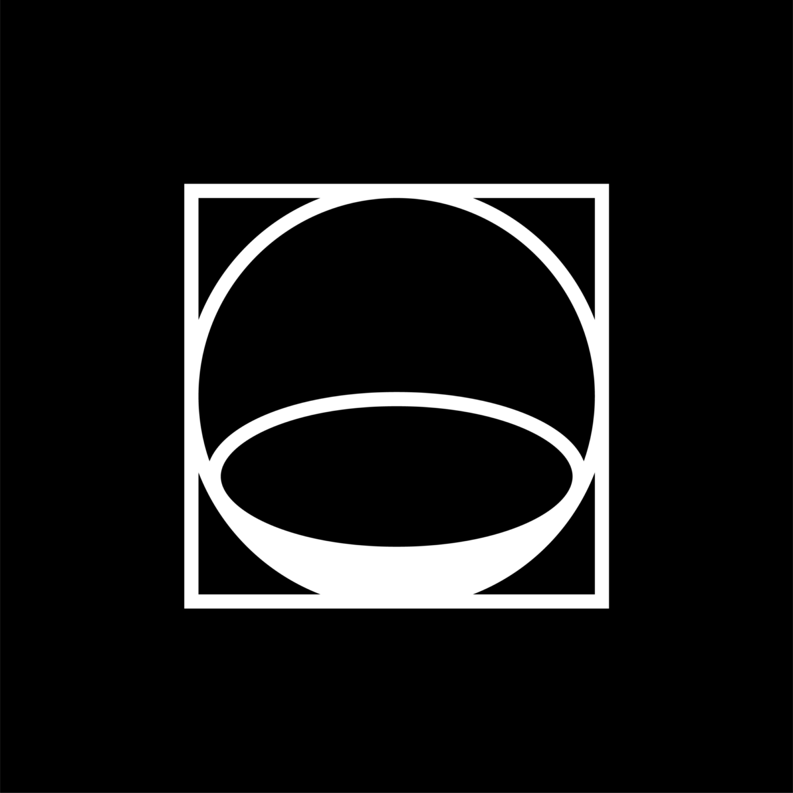 Ekho Collective's logo with black background and white circles inside a box