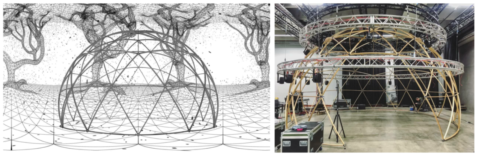 Two pictures featuring the dome concept sketch and dome structures being built