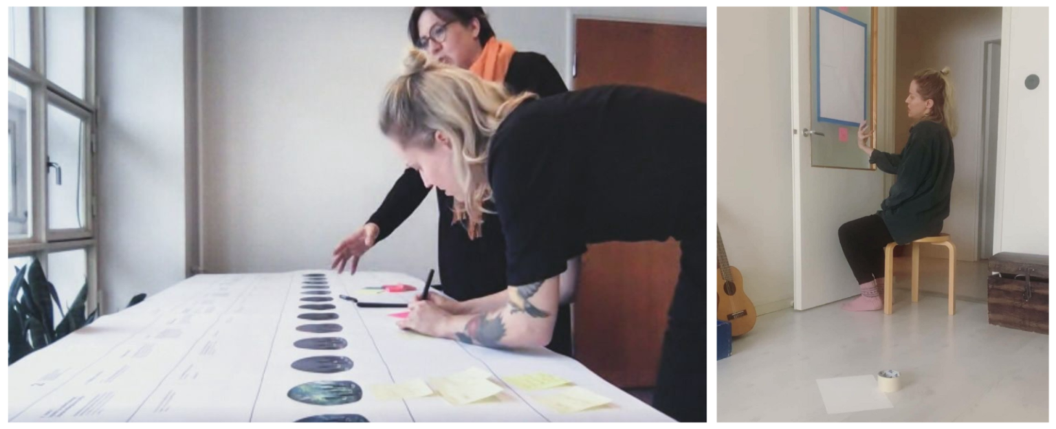 Two pictures featuring two women looking at the Laila timeline and one woman looking at drawn prototype