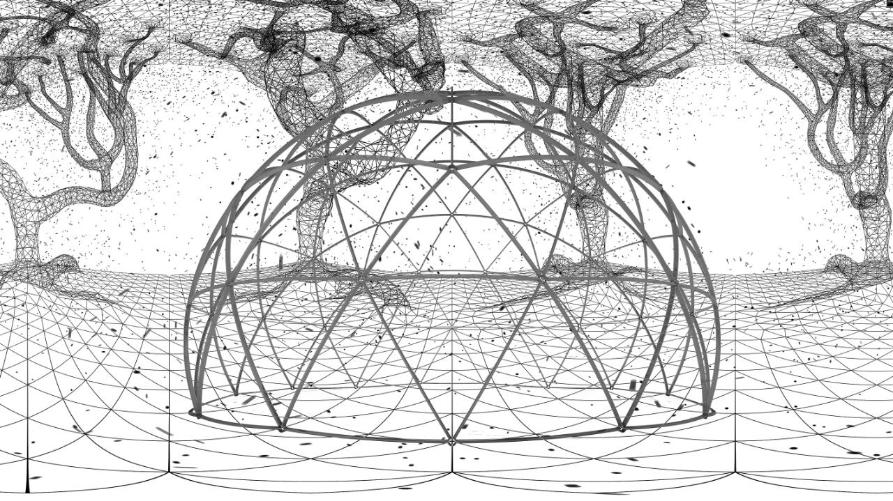 Shape of dome with grid-like tree in the background in black and white